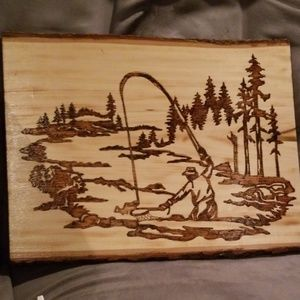 Other - Fishing woodburned plaque